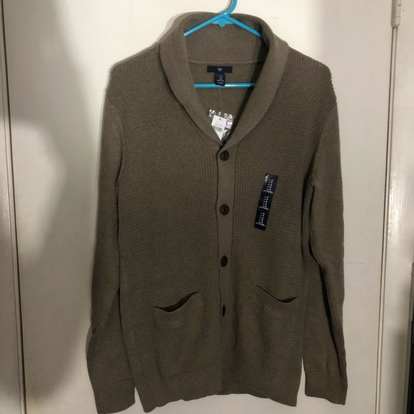 GAP Other - Men's Gap Tan Woven Cardigan with Wooden Buttons